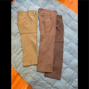 3 pairs dress pants; 2 wool blend, 1 cotton